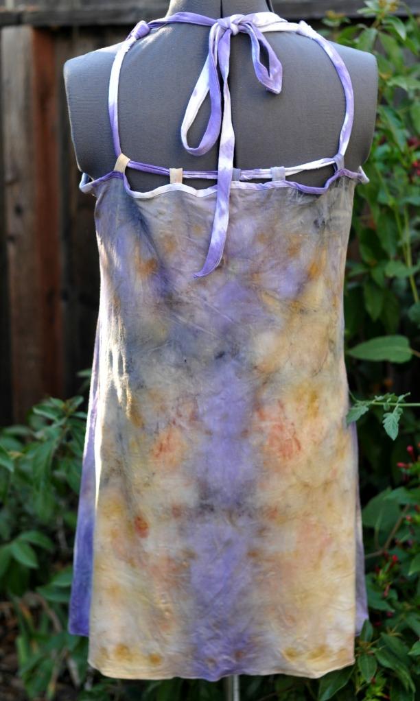 tie backs made from shibori dyed in logwood dyebath