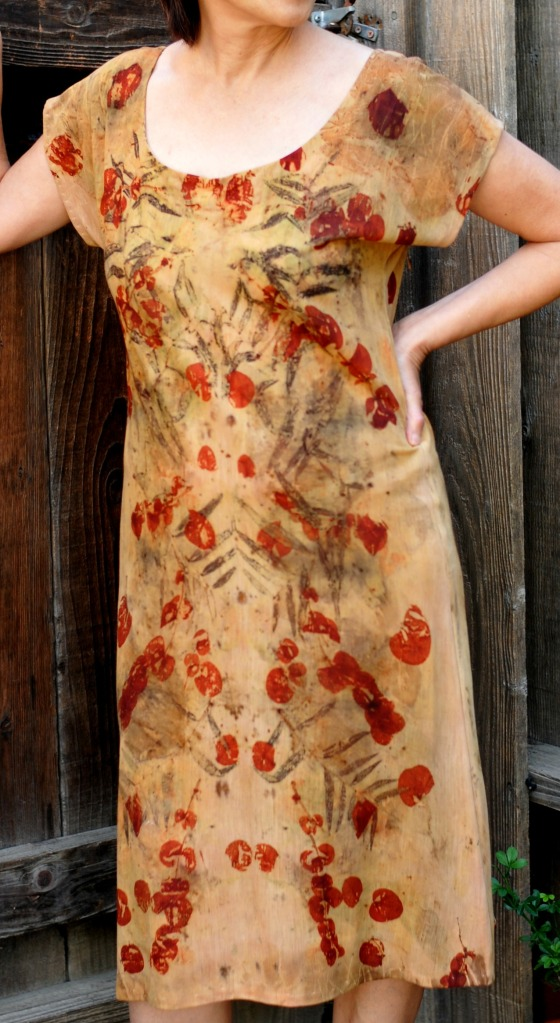 front view of merino jersey dress eco-print with agonis flexuosa and eucalyptus cinerea
