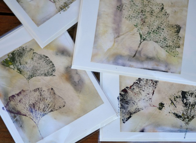 prints from painted gingko leaf onto homemade greeting cards