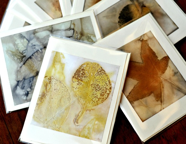 prints using decayed leaf on greeting card